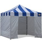 AbcCanopy Carnival Canopy 10x10 Blue With White Walls Ez Part Tent Bouns 6 Walls