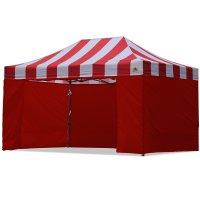 AbcCanopy Carnival Canopy 10x15 Red With Red Walls Ez Part Tent Bouns 6 Wall