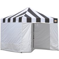 AbcCanopy Carnival Canopy 10x10 Black With White Walls Ez Part Tent Bouns 6 Walls