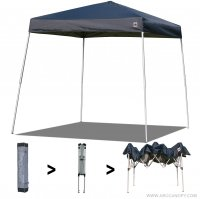 AbcCanopy Commercial Ez Pop Up Canopy Tent 10x10 Slant Leg Instant Canopy With Carry Bag Bonus Weight Bag(Navy Blue)