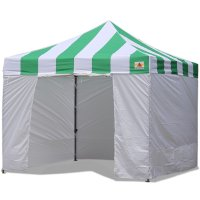 AbcCanopy Carnival Canopy 10x10 Green With White Walls Ez Part Tent Bouns 6 Walls